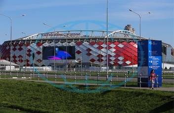 Spartak,  stadion,  Moskva,  Direction signs installed ahead of 2018 FIFA World Cup near Spartak Stadium in Moscow