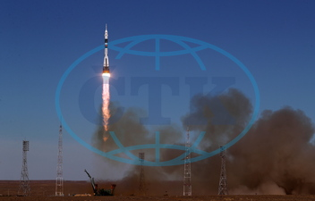 Soyuz MS-10 spacecraft carried by Soyuz-FG rocket booster launches from Baikonur Cosmodrome,  Bajkonur,  vesmírná loď,  stanice,  Sojuz,  start