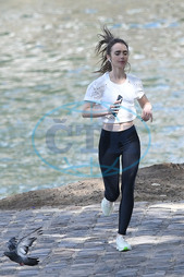 Lily Collins,   herečka,   jogging,   běh