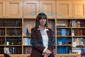 The new President of Greece,  the first woman in history on this post,  Katerina Sakellaropoulou in her office at the cour