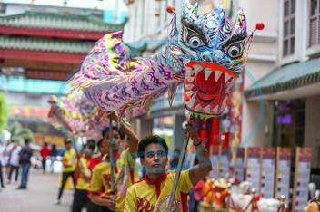 (200122) -- MANILA,  Jan. 22,  2020 -- Dragon dancers perform during a celebration to greet the upcoming Chinese Lunar Ne