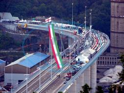 Inauguration day of the new San Giorgio bridge (ex Morandi),  passage of the tricolor arrows