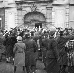 Praha,  okupace,  armáda Německo Prague,  March 15th 1938,  greeting the arrival of German army