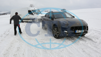 Heavy snowfall, spring, car, Porsche