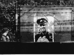 Germany / GDR,  Berlin. Poster of Jurij Gagarin at the entrance to a tunnel in Wedding. September 1961