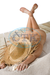 adult, attractive, beach, beautiful, body, body part, female, heat, holiday, model, naked, nude, nudist, relax, sand, sensuality, sexy, shirtless, slim, straw hat, summer, sun, sunbathing, tan, temptation, torso, vacation, whit