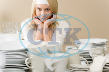 adult, blond, cleaning, cup, dishes, female, foam, frustrated, glass, home, household, housekeeping, housewife, housework, interior, kitchen, maid, plate, sponge, spring, tired, wash, woman, young