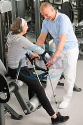 Adult, Caucasian, Female, Happy, Healthcare, Indoors, Medical, Patient, Recovery, Smiling, Therapy, active, assistance, club, convalescence, crutches, doctor, exercise, fitness, gym, healthy, help, male, man, mature, physical