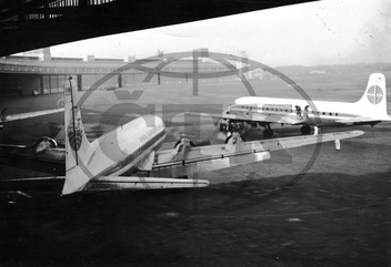 PanAm Air Planes at the Airfield Berlin-Tempelhof in the 1950 er Years