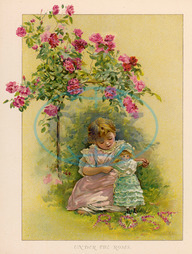 GIRL AND DOLL IN GARDEN