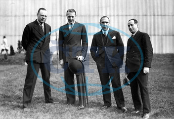 ELSTREE STUDIOS,  the base of BRITISH INTERNATIONAL PICTURES is visited by famous film actor CLIVE BROOK also seen are Director / Producer VICTOR SAVILLE ,  and J A THORPE the studio General Manager and