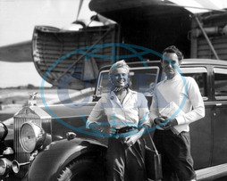 Film director DAVID LEAN and his wife actress ANN TODD return from a continental holiday on an air ferry with their Rolls-Royce car.