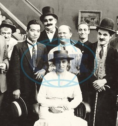 OLIVER HARDY with some of the other cast and crew of a Billy West film at the KING BEE Studios in 1917.