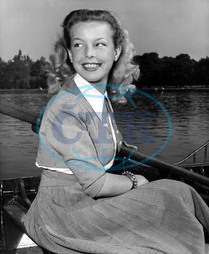 CECILE AUBRY French actress,  visiting London,  on a boat on The Serpertine,  Hyde Park CECILE AUBRY