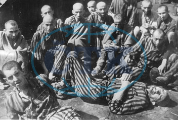 Prisoners in the concentration camp Terezin (Theresienstadt) after the liberation. Czechoslovakia. Photograph. 1945.
