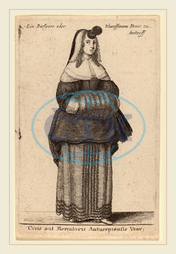 Wenceslaus Hollar, Bohemian, 1607-1677, Ciuis aut Mercatoris Antuerpiensis Vxor, 1650, etching, Wenceslaus, Hollar