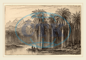Edward Lear, Figures Setting Out in Canoes from a Palm Grove, Wady Feiran, British, 1812, 1888, 1884, 1885, gray, wash, wove, paper, laid, down, card, Edward, Lear