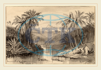 Edward Lear, Avisavella, Ceylon, British, 1812, 1888, 1884, 1885, gray, wash, wove, paper, laid, down, card, Edward, Lear