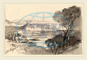 Edward Lear, View across a Bay, Monaco?, British, 1812, 1888, 1884, 1885, gray, wash, wove, paper, Edward, Lear