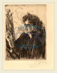 Anders Zorn, Girl with Cigarette, Swedish, 1860-1920, 1891, etching, Anders, Zorn