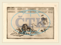 Francisco de Goya, Echan perros al toro, They Loose Dogs on the Bull, Spanish, 1746, 1828, before, 1816, etching, burnished, aquatint, drypoint, first, edition, impression, Francisco, de, Goya