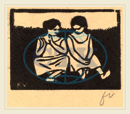 Félix Vallotton, Two Girls in Chemises, Deux fillettes en chemise, Swiss, 1865-1925, 1893, woodcut, brown wove paper, Félix, Vallotton