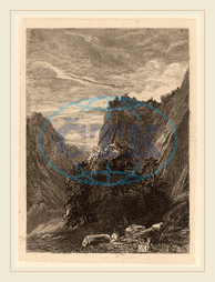 Alexandre Calame, Trees at the Foot of a Cliff, Swiss, 1810-1864, 1838, etching on chine collé, Alexandre, Calame