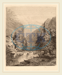 Alexandre Calame, Mountain Waterfall, Swiss, 1810-1864, 1838, etching on chine collé, Alexandre, Calame
