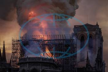 A fire broke out at Notre Dame Cathedral in the centre of Paris on April 15th 2019 Flames and sm