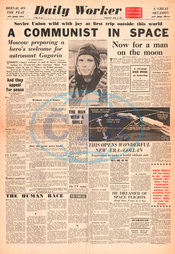 1961 Daily Worker Yuri Gagarin is first man in space