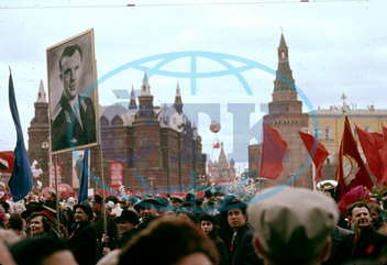 Street scene on May Day,  Moscow,  USSR