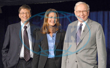 Bill Gates And His Wife Melinda,  Warren Buffett